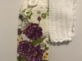 Tea Towel Topper with purple flowers (white topper)