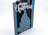 Teal Christmas Tree Dimensional Card