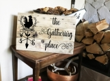 The Gathering Place | Welcome Rooster Wooden Sign | 5 Fonts