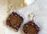 Beaded Etched Copper Beaded Earrings