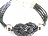 Celtic Style (Josephine) Lovers Knot Dark Gray Leather Bracelet