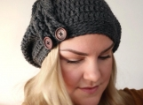 Charcoal Braids & Buttons Slouchy Hat