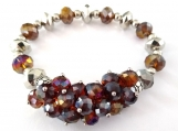 Gorgeous Amber Glass Bead & Silver Accent Stretch Bracelet