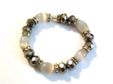 Gorgeous Czech Glass and Faceted Rondelle Stretch Bracelet