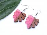 Pink Resin + Wood Monstera Leaf Earrings