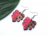 Salmon Resin + Wood Monstera Leaf Earrings