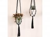 "Set of 2- Black Minimalist Plant Hanger - 36"" and 43"""