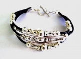 Striking Leather and Silver Plated Boho bracelet