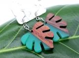 Teal Resin + Wood (Matte Finish) Monstera Leaf Earrings
