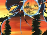 The Eagle Spirit Representing Love, Indigenous Painting, Acrylic on Canvas with Pencil Shading