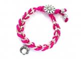 Unique Fuchsia Nylon Cord and Chain Bracelet
