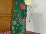 Wine Cover / Bag Christmas Berries Red top, Green drawstring