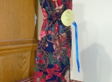 Wine Cover / Bag Christmas theme, Red top, Blue drawstring