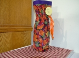 Wine cover/ bag Fall leaves purple top Orange Ribbon
