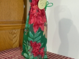Wine Cover / Bag Flowers, Pinecones, Red top, Green drawstring