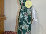 Wine Cover/Bag  Green Ribbon, white drawstring