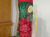 Wine Cover / Bag Pinecone & Poinsettia Red top, Gold drawstring