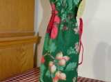 Wine Cover / Bag Poinsettia flowers, Red drawstring
