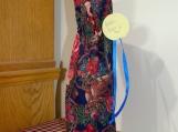 Wine Cover / Bag St. Nickolas, Flowers, Red top, blue drawstring