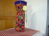 Wine Cover, Fall Leaves, Purple Top, green drawstring