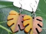 Yellow Resin + Wood (Matte Finish) Monstera Leaf Earrings