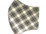 Gray & Black Diagonal Plaid Face Mask