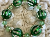 Holiday beaded bracelets - Green and Gold  Beads