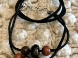 Holiday Bracelets - Black Suede with Wood Beads