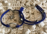 Holiday Bracelets - Blue Suede Set with charm