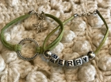Holiday Bracelets - Green Suede Set with charm