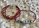 Holiday Bracelets -  Red Suede Set - JOLLY