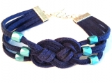Simple but Elegant Dark Navy Blue Suede Lovers Knot Bracelet
