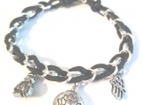 Striking Black Nylon Cord and Chain Bracelet with Charms