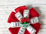 Christmas red and silver hair bow