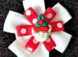 Elf Christmas red and white hair bow