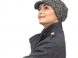 Chemo headwear, winter cap in grey leopard print knit, all sizes