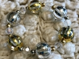 Holiday beaded bracelets - Silver and Gold Beads