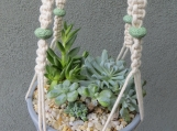 """Plant Hanger with Mint Green Lava Beads - 32"""""""