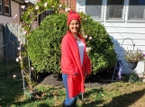 Red Fleece Shawl & Hat Set