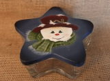 Snowman Star-Shaped Glass Dish