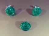 Winter Green Starburst Cufflinks and Tie Pin