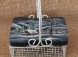 Winter Landscape Wire Basket with Lid