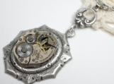 "Vintage Jeweled Watch Pendant ""Time Flies"""