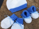 BABY BOY set. Hat, booties, mittens