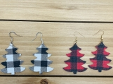 Buffalo Check Christmas Tree Leather Earrings
