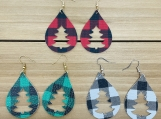 Buffalo Check Christmas Tree Teardrop Leather Earrings