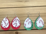 Candy Cane Christmas Teardrop Red Green Leather Earrings