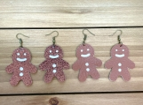 Christmas Gingerbread Man Cutout Leather Earrings