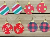 Christmas Ornament Leather Earrings