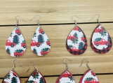 Christmas Red Truck and Tree Teardrop Leather Earrings